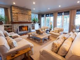pleasant stone tile fireplace ivory fabric sectional sofa