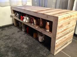 1001 Pallet by This Pallet Bench Has Two Shoe Storage Shelves Pallet Benches