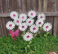 white daisy garden stakes w pink butterfly baker u0027s dozen metal