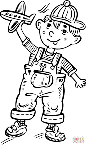 little boy playing with a toy plane coloring page free printable
