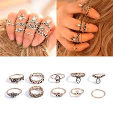 midi rings set bohemian 10pcs pack vintage elephant moon rings lucky stackable