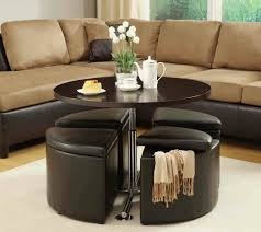 Colorful Coffee Tables Sofa Leather Tufted Ottoman Round Brown Ottoman Colorful