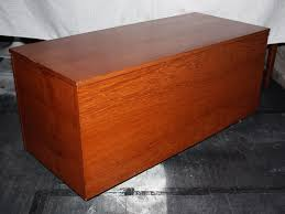 large vintage retro teak trunk chest blanket box toy box coffee