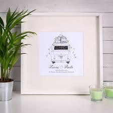 personalised campervan wedding print by jack spratt baby wedding gift keepsake