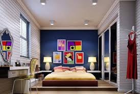 accent ls for bedroom navy blue accent walloom walls with dark furniture light gray color