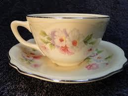 homer laughlin fluffy homer laughlin virginia tea cup saucer set fluffy two