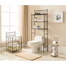 3 piece copper iron bathroom 3 tier shelf storage toilet paper