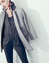 jew collection italian jumpsuit and melton boyfriend coat grey
