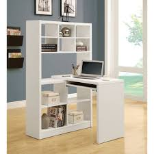 White Wood Desk Cool Decorating Ideas Using Brown Laminate Floor And Rectangle