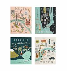 City Maps City Maps Assorted Card Set By Rifle Paper Co Made In Usa