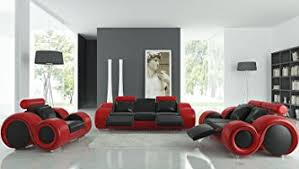 Cheap Red Leather Sofas by Amazon Com Vig Furniture 4088 Red U0026 Black Leather Sofa Set