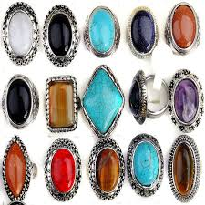 rings large stones images Wholesale 20pcs lot vintage large stone finger ring unisex alloy jpg