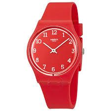 red swatch swatch sunetty red ladies plastic watch gr175 originals swatch