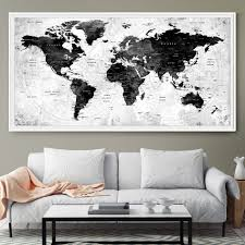 large watercolor map world push pin travel cities wall black u0026