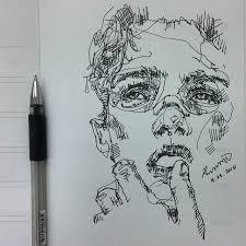 pen sketch portrait illustration loose inking doodles