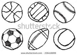 ball sketch set simple outlined isolated stock vector 238418899