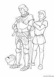 coloring page knight and the squire