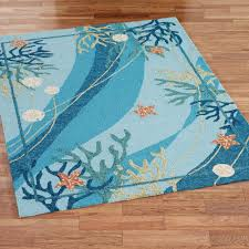 Rugs With Teal Underwater Coral Starfish Indoor Outdoor Rugs
