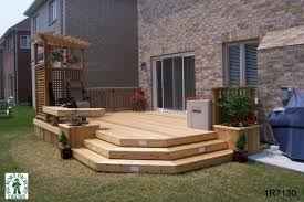 Pergola Deck Designs by Medium Low 1 Level Deck With Bench Planters Privacy Screen