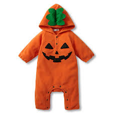 Infant Halloween Costumes Pumpkin Halloween Costume Baby Orange Pumpkin Romper Long Sleeve