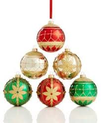 set of 6 gold with swirl glass ornaments macys
