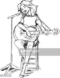 singing with guitar and microphone vector art getty images