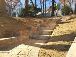 Retaining Wall Stairs Design Paver Stairs Retaining Wall Construction Premier Lawn And