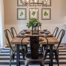 Black Metal Chairs Dining White Farmhouse Table Black Metal Chairs Farmhouse Dining Room
