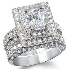 wedding set elisabetta s grand emerald cut synthetic diamond wedding set