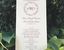 flat wedding programs classic program etsy