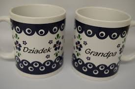 dziadek grandpa mug from poland blue eye country style