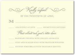 wedding invitation response card sle rsvp with dinner choices wedding invites