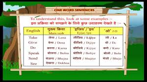 one word sentences learn through for