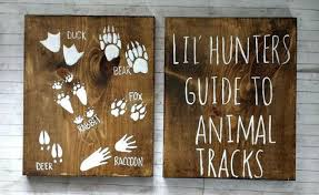Rustic Nursery Decor Lil Hunters Guide To Animal Tracks Rustic Wood Set