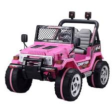 matte pink jeep kids ride on jeeps