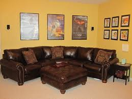 Home Design Brown Leather Sectional Decorating Ideas Room Couch