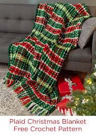 plaid christmas blanket free crochet pattern in red heart super
