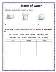 english worksheets the 3 states of water