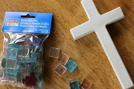 easy mosaic cross craft reading confetti