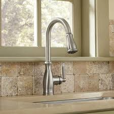 moen brantford kitchen faucet shop moen brantford spot resist stainless 1 handle deck mount pull