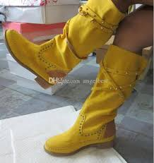 womens boots yellow fashion brand white yellow boots for suede casual flat
