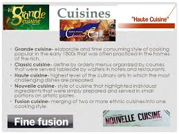 define haute cuisine history and philosophy ppt