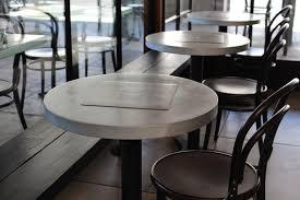 round zinc cafe table with bar height steel base 24 u0027 u0027dia jc101t
