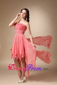 modest formal dresses for juniors strapless asymmetrical chiffon beading junior prom dress in watermelon