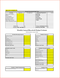 sample home budget worksheet and household bud templatememo