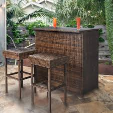 Garden Bar Table And Stools Best Choice Products 3pc Wicker Bar Set Patio Outdoor Backyard