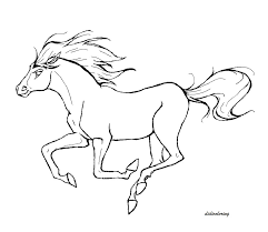 printable horse refreshing in windy weather didi coloring page