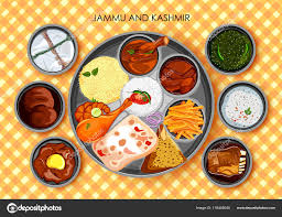 kashmir indian cuisine traditional cuisine and food meal thali of jammu and kashmir india