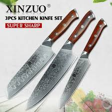 professional kitchen knives set xinzuo 3pc kitchen knife set damascus steel chef knives