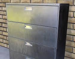 Metal Filing Cabinet 4 Drawer Refinished Large 4 Drawer Metal Filing Cabinet W Wood Top